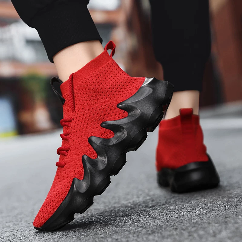 New Fashion Sock Breatable Shoes Snicker for Men Red